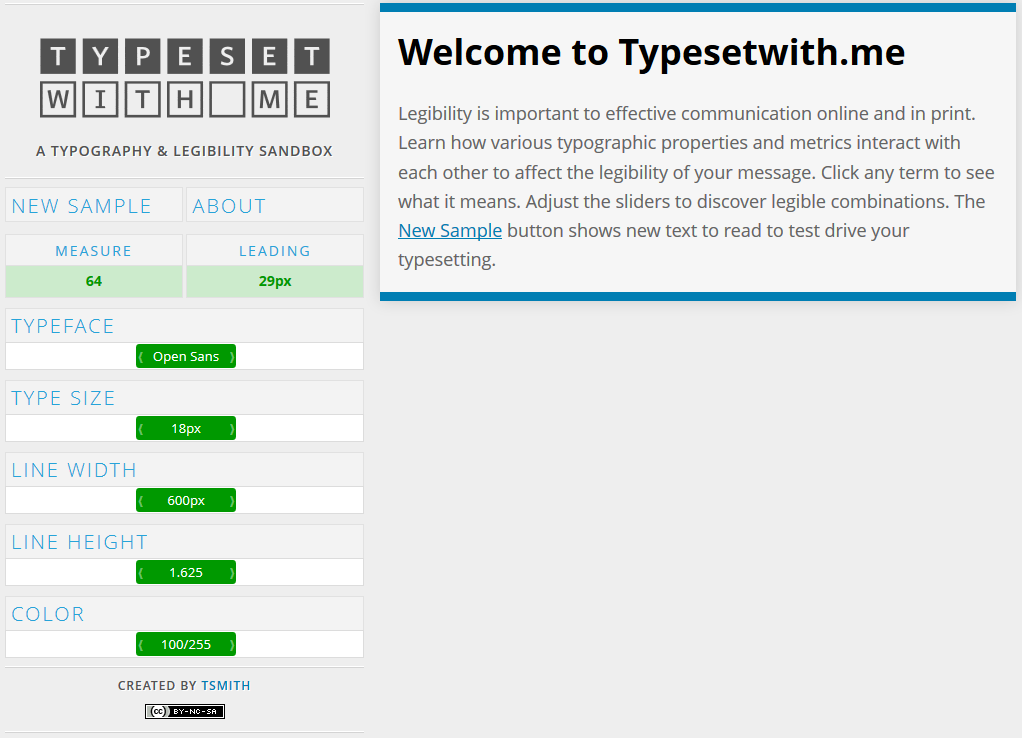 typesetwith.me A typography and legibility sandbox