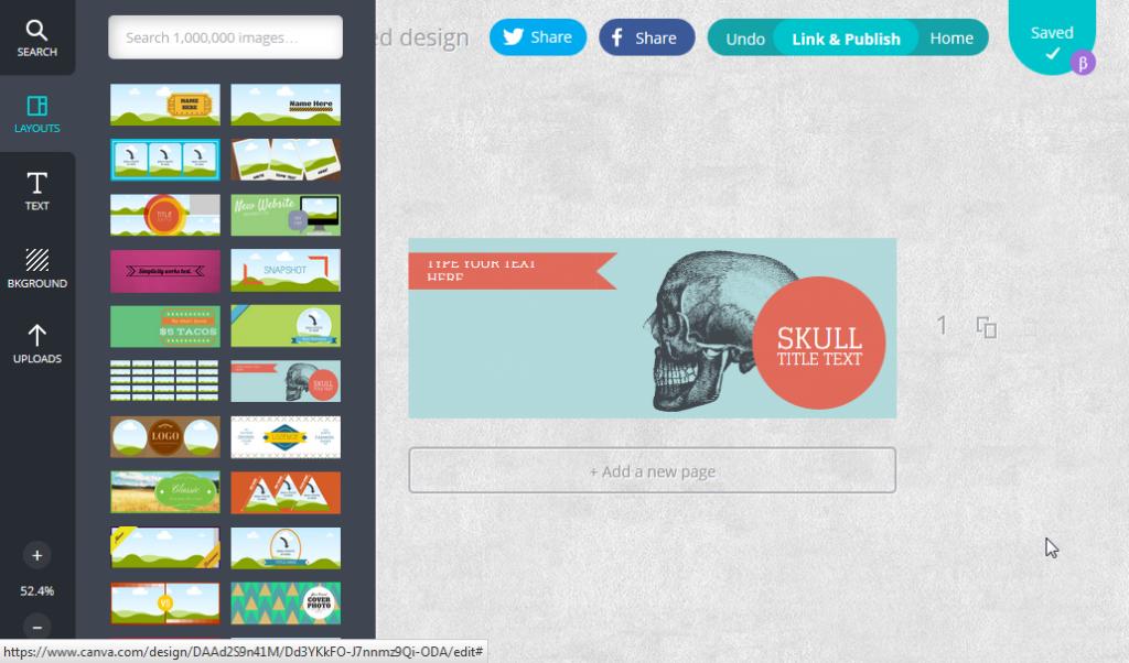 Ein Design mit canva erstellen, ein Screenshot der Bedienoberfläche