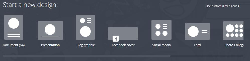 Die Auswahl der zur Verfügung gestellten Formate rangiert von A4 bis zu Facebook Cover.