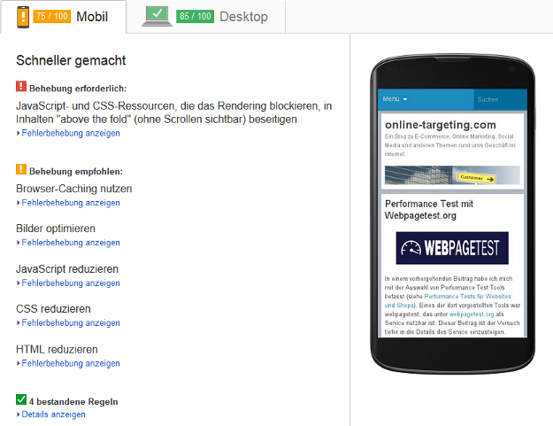PageSpeed Insights - Mobile Optimierung