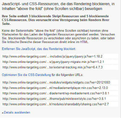 PageSpeed Insights - Optimierung Details