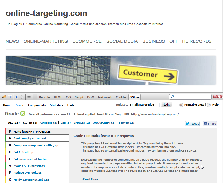 YSlow on Online-Targeting.com