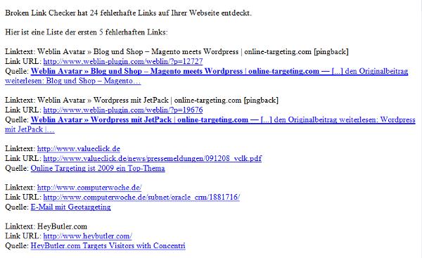 [online-targeting.com] Fehlerhafte Links entdeckt - Nachricht