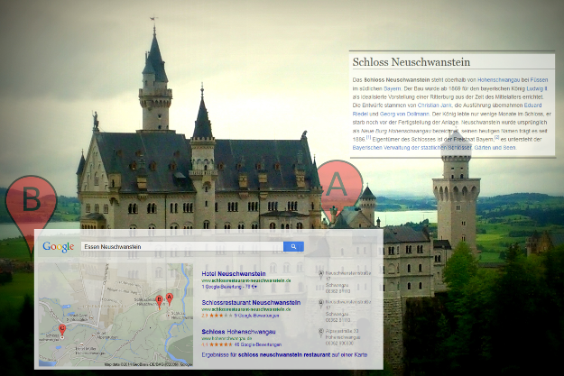 Schloss Neuschwanstein als Augmented Realty (Lomo filtered and Map induced)