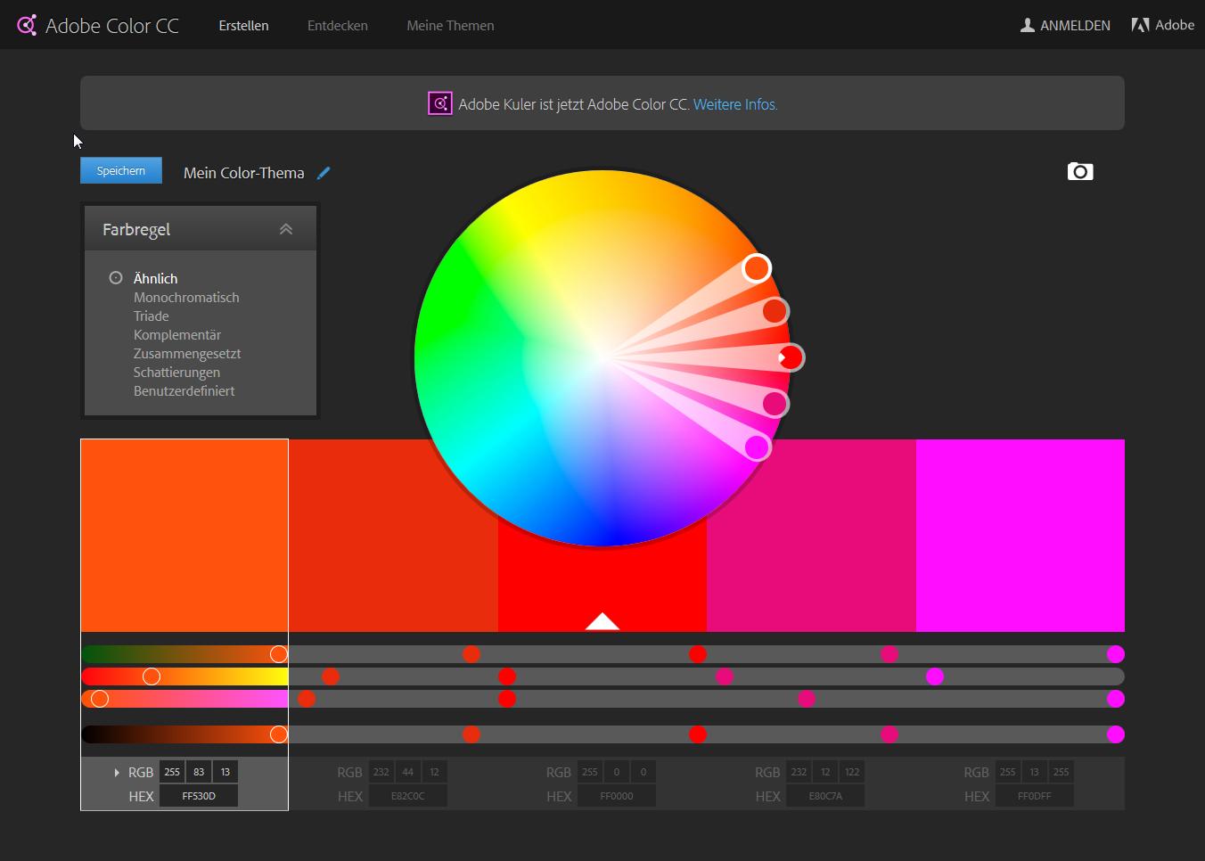 Farbrad _ Farbschemata - Adobe Color CC