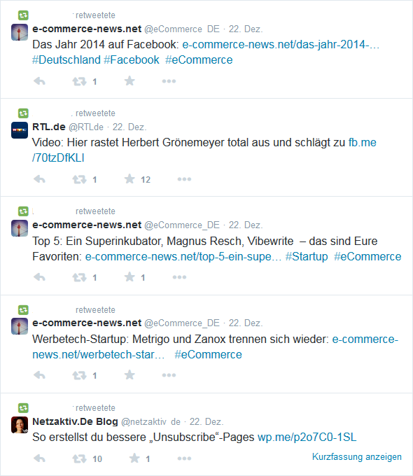 Retweets von mutmasslichen Spam Accounts