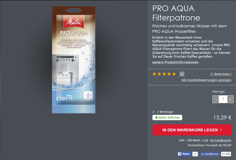Melitta-Produktdetailseite
