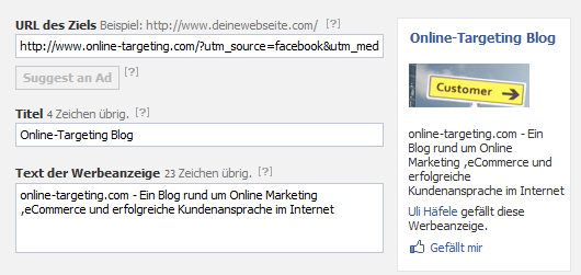 Facebook Ad mit Tracking Url