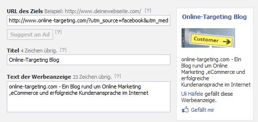Facebook Ad mit Tracking Url